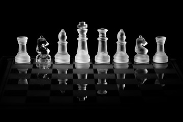 Glass Chess Set with a Knight of the Opposite Color Hiding in the Row as a Spy or Double Agent