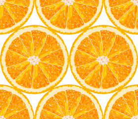 Vector seamless pattern from orange slices. Citrus background