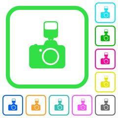 Camera with flash vivid colored flat icons icons