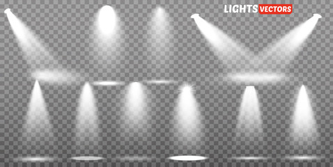 Scene illumination collection, transparent effects. Bright lighting with spotlights. Wall mural