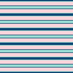 Horizontal stripe vector seamless pattern. Trendy colors, pink, navy, mint green