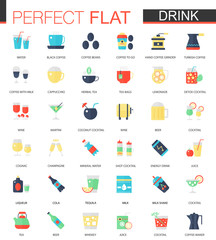 Vector set of flat tea, coffee, alcohol drinks icons