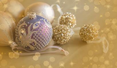 Gold Festive Christmas background. Christmas ball golden background. Christmas decoration.