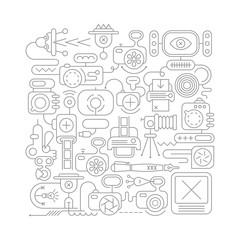 Photo Equipment line art vector illustration