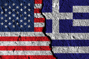 Crack between America and Greece flags. political relationship concept