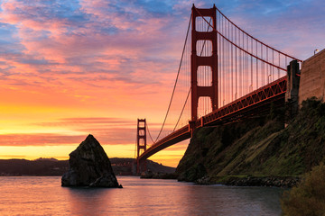 The Sun Rises over the Golden Gate Bridge in San Francisco