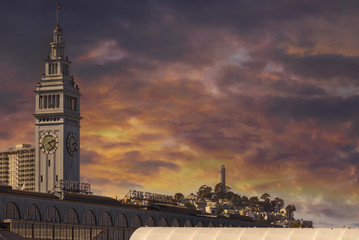 Sunset over Port of San Francisco Ferry Building in California USA America