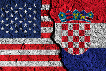 Crack between America and Croatia flags. political relationship concept