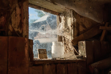 Interior view of a barn window