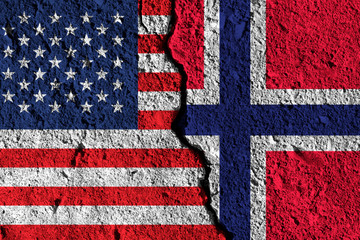 Crack between America and Norway flags. political relationship concept