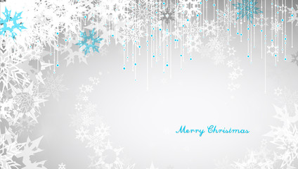 Christmas light background with white snowflakes and Merry Christmas text - light version