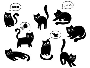 A set of black cats. A collection of cartoon cats for Halloween. Lovely playing black kittens. Vector illustration of pet pets. Logo of the cat.