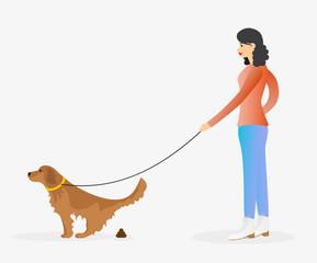 Girl walking a dog. Golden retriever pooping.