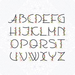 Decorative art deco mono line font with color leaves and floral elements. Latin alphabet of vintage elegant romantic letters.