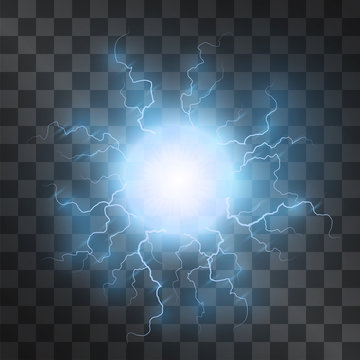 Plasma light effect vector. Energy charge, static electricity lightning on transparent background. Fireball lightning, blue thunderbolt. Nervous system, neuronal cell.