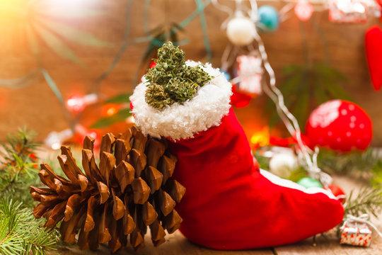 santa red Christmas hat with marijuana