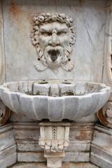 Poster Fontaine Fontaine en marbre à tête grotesque à Pise en Italie, France