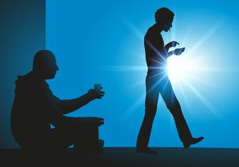 Mendiant - mendicité - pauvreté - clochard - pauvre - jeune - indifférence - téléphone portable
