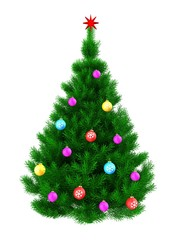 3d Christmas tree over white