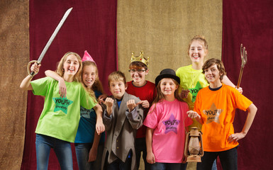 Child actors pose for the camera