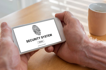 Security system concept on a smartphone