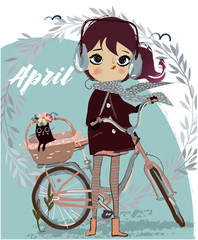 cute cartoon girl with bike and kitten