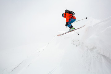 Wall Mural - good skiing in the snowy mountains.