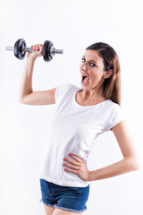 Happy woman lifting weight