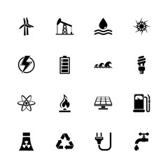 Energy icons - Expand to any size - Change to any colour. Flat Vector Icons - Black Illustration on White Background.