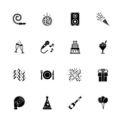 Events icons - Expand to any size - Change to any colour. Flat Vector Icons - Black Illustration on White Background.