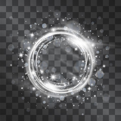 Light effect with silver circle frame with glowing tail of shining stardust sparkles, cold illumination. Glistening blizzard energy ring flows in motion. Luxurious design element.