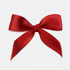 Red realistic 3d bow, isolated on transparent background. Vector illustration. Poster, card or brochure template.