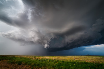 Thunderstorm with dramatic dark clouds