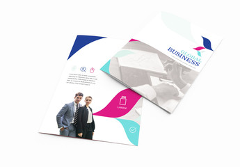 Bi-Fold Brochure Layout With Blue Accents 2