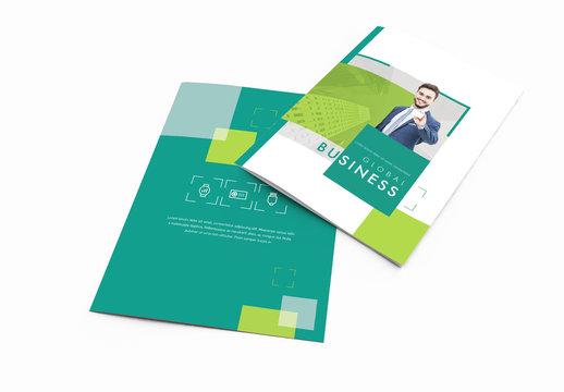 Bi-Fold Brochure Layout With Green Accents 1