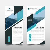 blue abstract triangle business roll up banner flat design template abstract geometric banner template vector