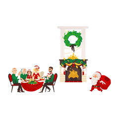 vector christmas holiday scenes set. Santa standing with present bag, decorated with spruce branch, holly and candles fireplace with stocking, family sitting at festive table. Isolated illustration.