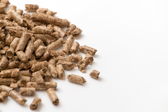 Stove Pellets on White Background