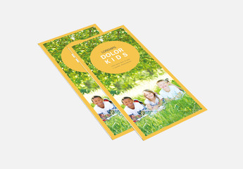 Tri-fold Brochure Layout with Yellow Border