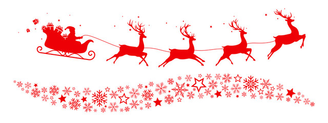 Sleigh, snowflakes and stars