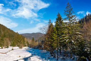 frozen river in forested mountains. beautiful nature scenery on fine winter day