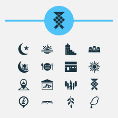 Holiday Icons Set. Collection Of Prayer Place, Khutbah, Beads And Other Elements. Also Includes Symbols Such As Tree, Maghrib, Abend.