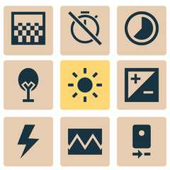 Photo Icons Set. Collection Of Mode, Accelerated, Shine And Other Elements. Also Includes Symbols Such As Shine, Photo, Camera.