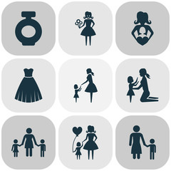 Mothers Day Icon Design Concept. Set Of 9 Such Elements As People, Fragrance And Child. Beautiful Symbols For Flower, Lady And Evening.
