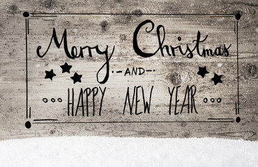 Calligraphy Merry Christmas And Happy New Year, Vintage Background, Snow