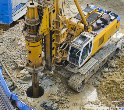 Drilling machine at construction site