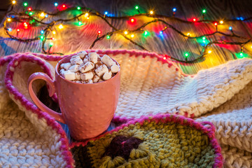 Christmas composition with cup of cocoa and marshmallows, warm k