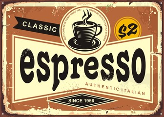 Authentic Italian espresso vintage tin sign advertise