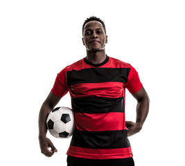 Fan / Sport Player on red and black uniform celebrating on white background