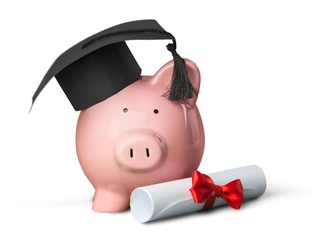 Piggy Bank with Mortarboard and Diploma